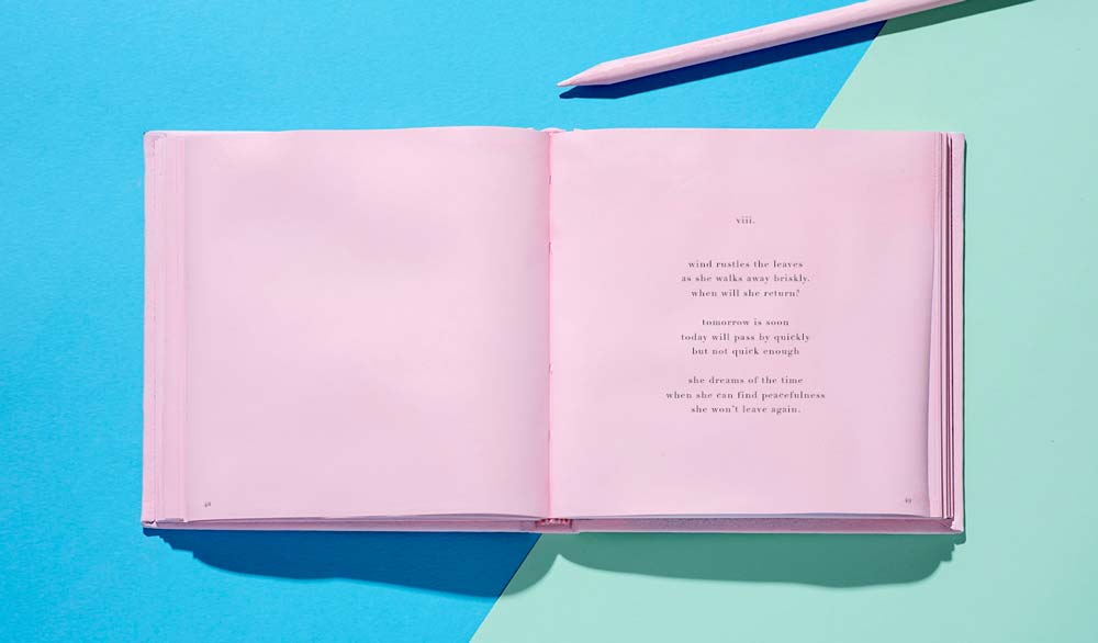 Poetry book double page spread